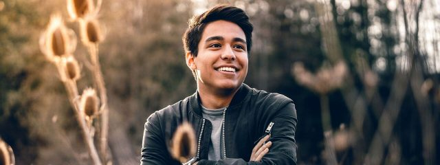 Optometrist, man wearing contact lenses, New Westminster, BC