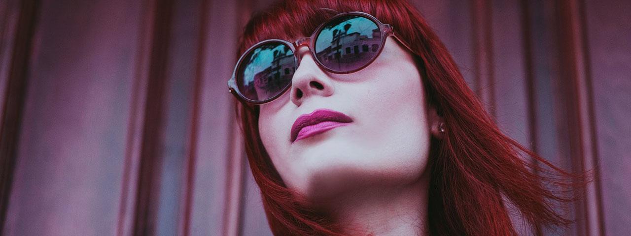Woman Sunglasses Red Hair 1280×480