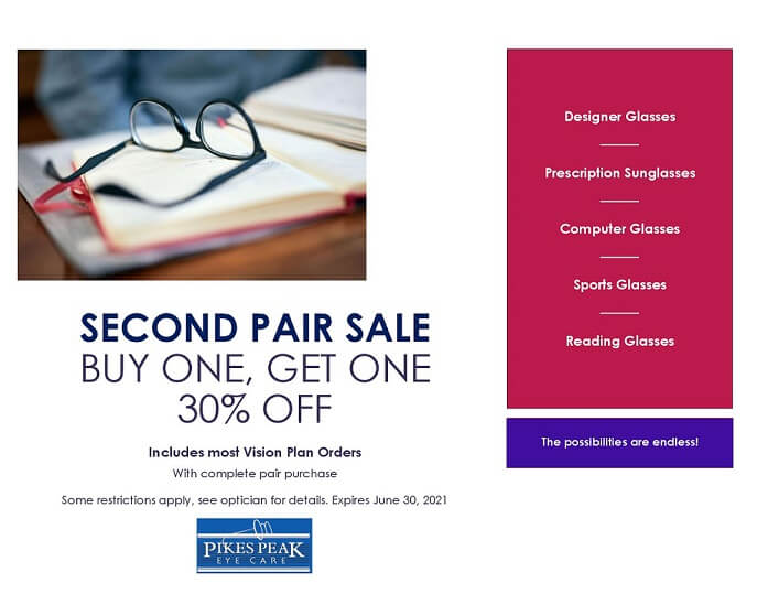second pair sale - buy one pair get the second pair 30% off
