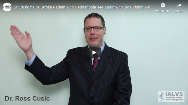 Screenshot 2019 07 20 Dr Cusic helps Stroke Patient with Hemianopia see Again with Side Vision Awareness Glasses YouTube