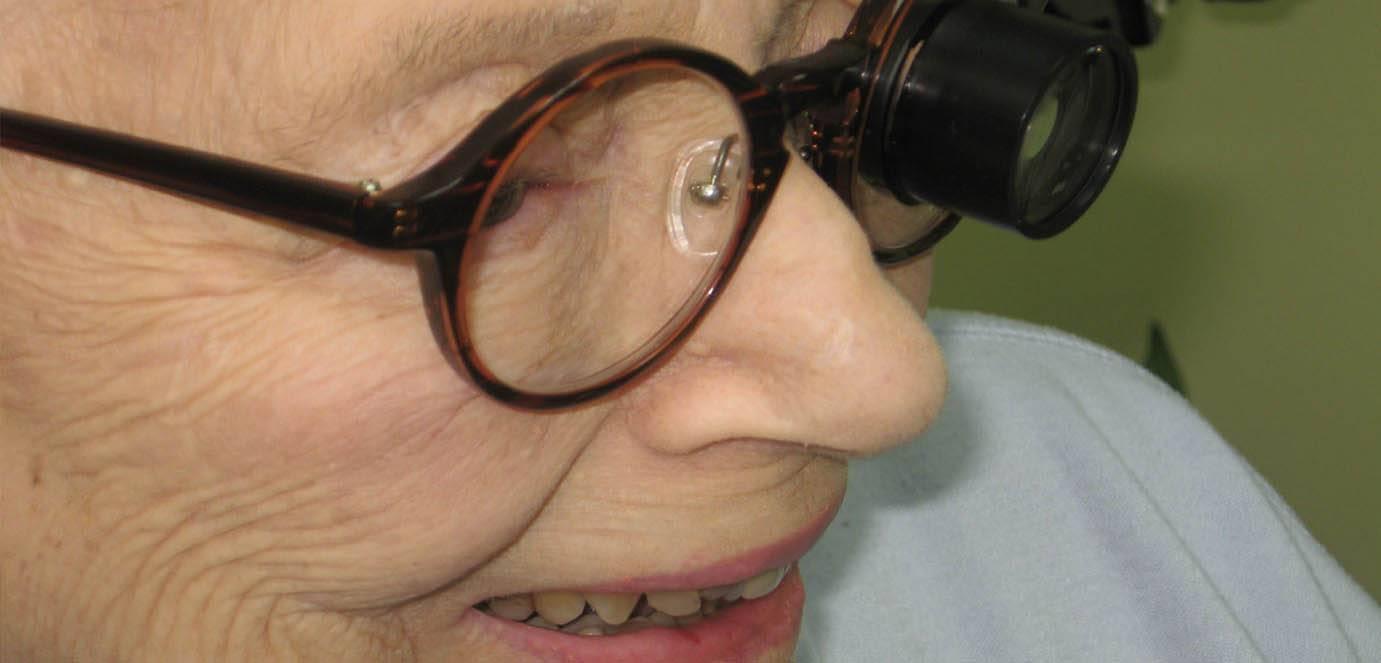 Woman Wearing TeleMicroscope glasses
