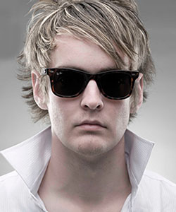 Model wearing Ray-Ban sunglasses