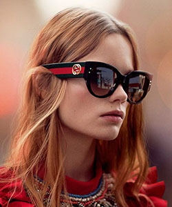 Model wearing Gucci sunglasses