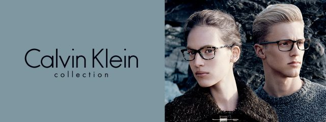 Optometrist, man and woman wearing Calvin Klein eyeglasses