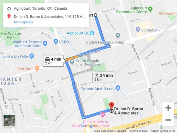 Agincourt to Dr Ian D Baron Associates Google Maps