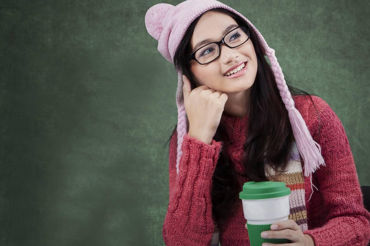 Girl Glasses Hat Thinking 1280×853