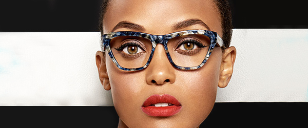 woman wearing LAMB eyeglasses