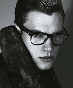 Model wearing Penguin eyeglasses