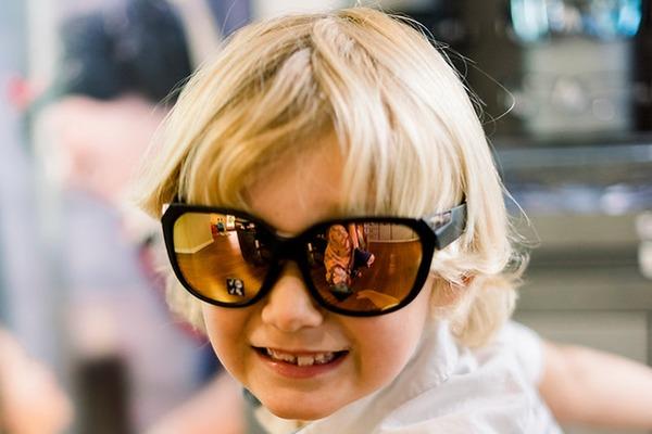 happy boy wearing sunglasses