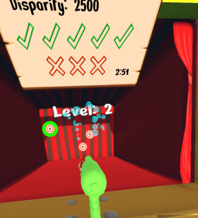 VR carnival game squirt gun for vision therapy