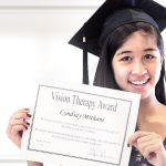 Girl graduating from vision therapy