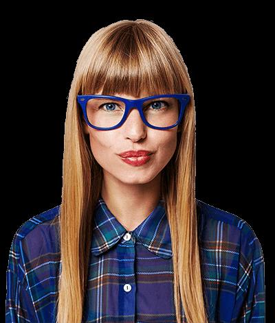woman blue glasses and plain shirt.png