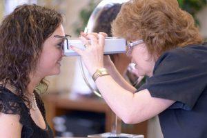 optician measuring patient crop