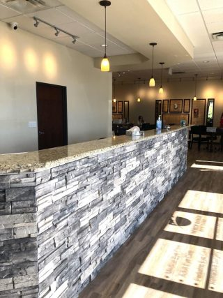 The reception desk of our new eye care clinic in Commerce City, CO