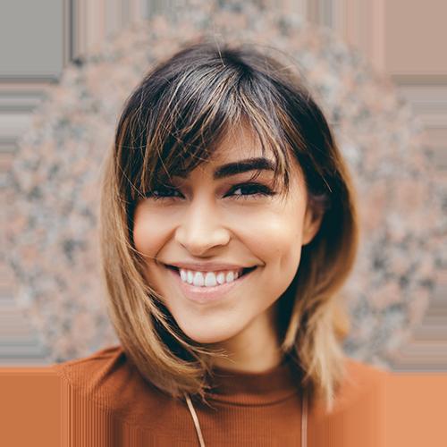 smile-woman-brown-shirt