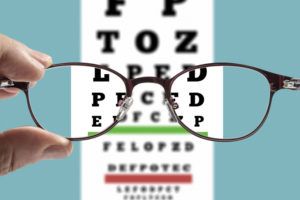 Eyeglasses testing concept.