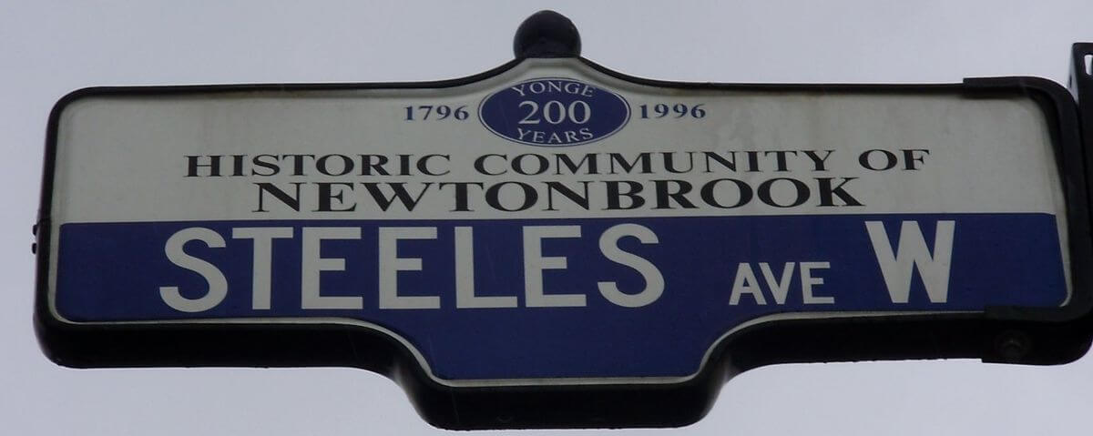 Steeles Ave West Street Sign