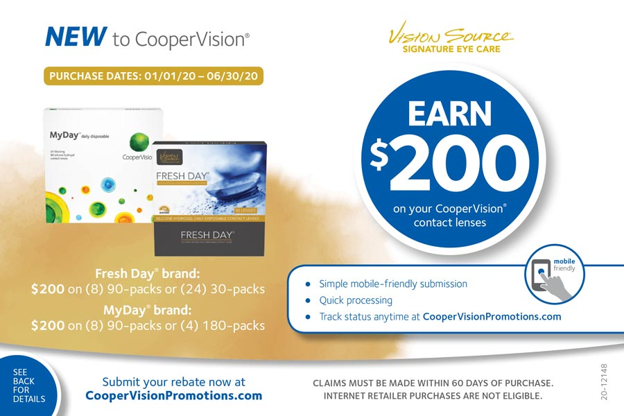 Save Up to $200 on your CooperVision Contact Lens Purchase