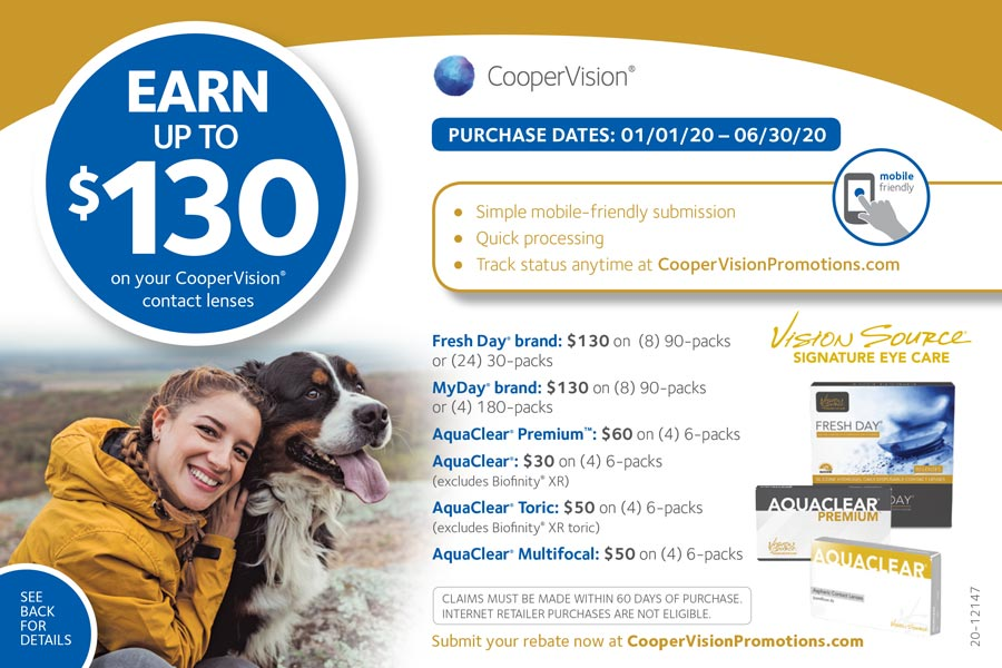 Save Up to $130 on Your CooperVision® Contact Lens Purchase