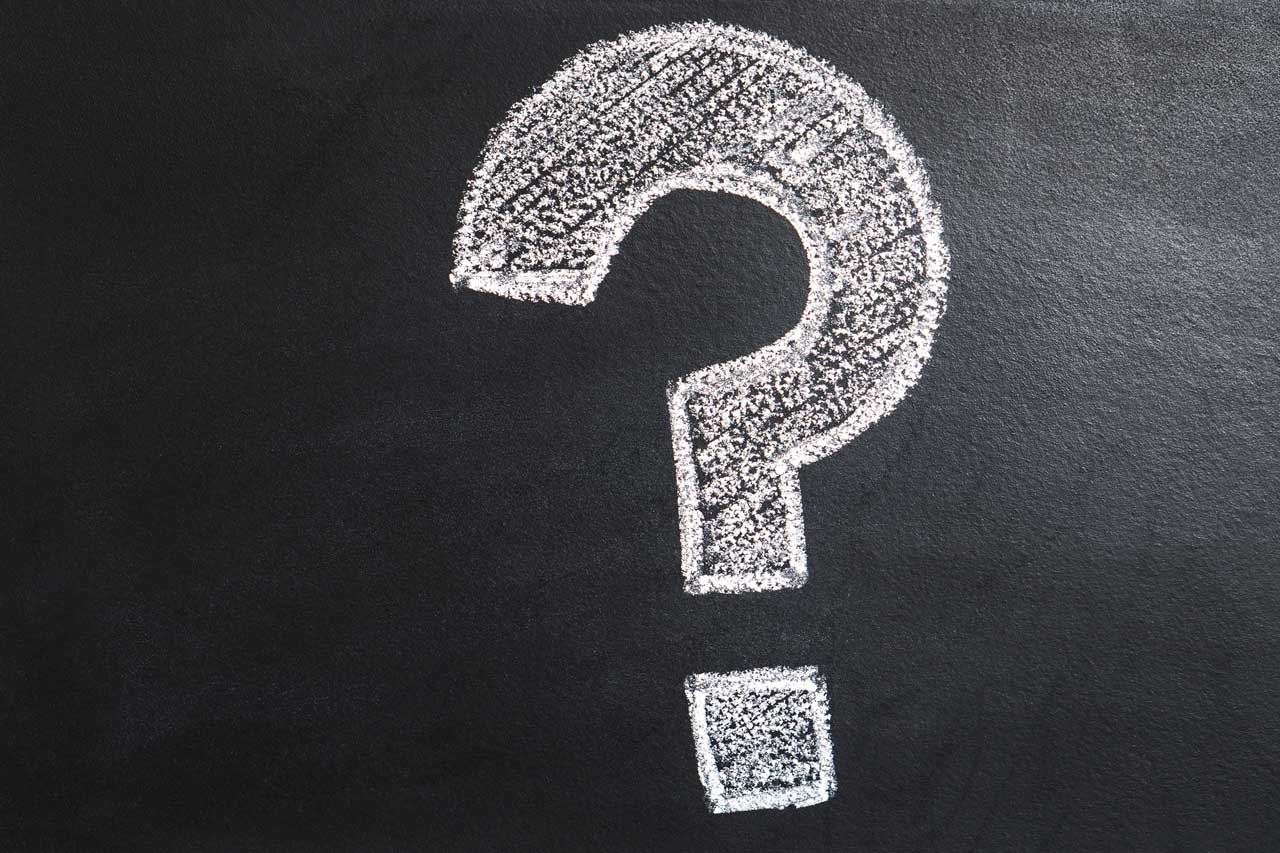 Question mark on blackboard
