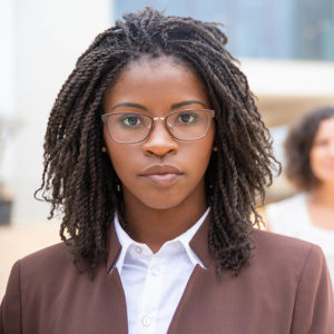 Serious Young African American Businesswoman. Portrait Of Confid