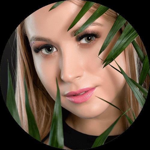 woman blue green eye circle