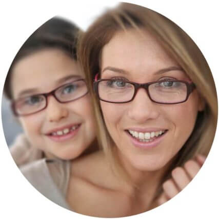 mother and daughter wearing glasses