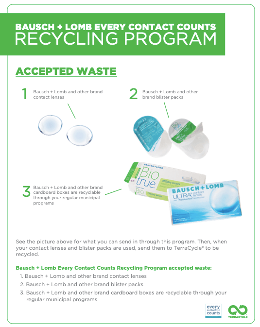 Bauch +Lomb contact lenses recycling program