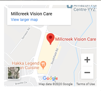 map to our eye care clinic in Mississauga
