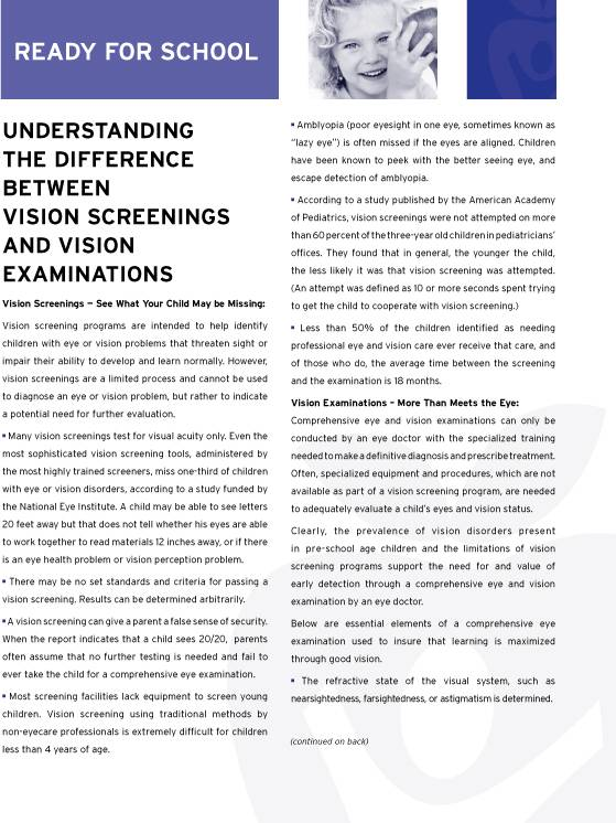 Vision Screening Exams 1