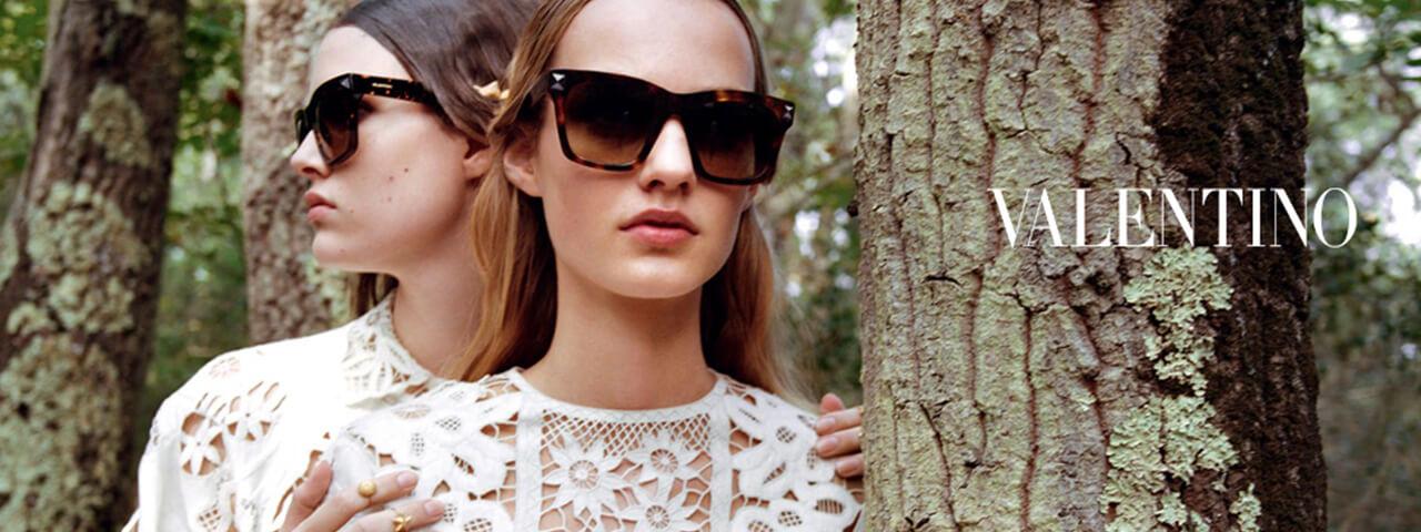 Model wearing Valentino sunglasses
