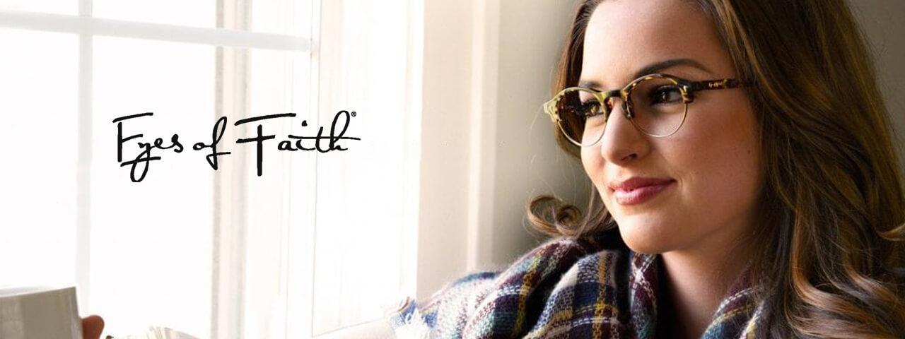 Woman Wearing Eyes of Faith Designer Eyeglass Frames