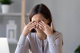 Tired Teen Girl Rubbing Dry Irritable Eyes Feel Eyestrain Tensio