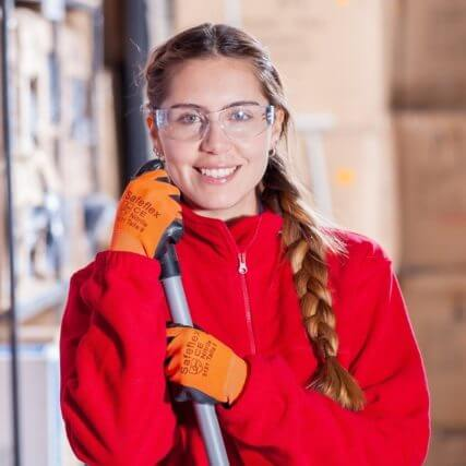 girl wearing safety goggles
