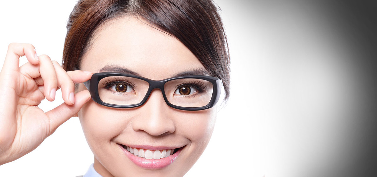 asian glasses girl holding frame