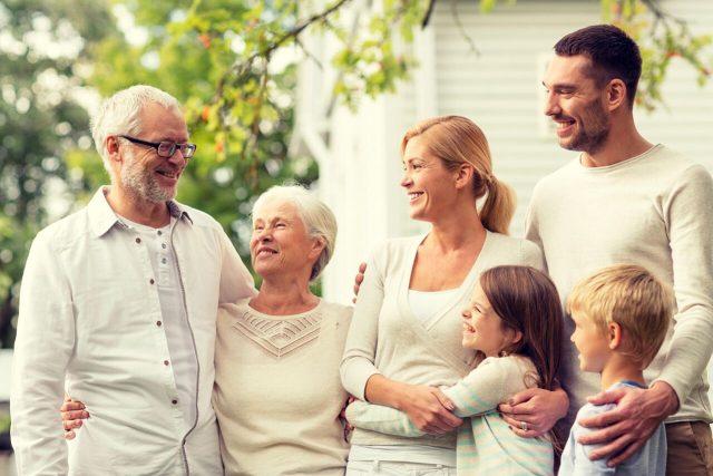 intergenerational caucasian family
