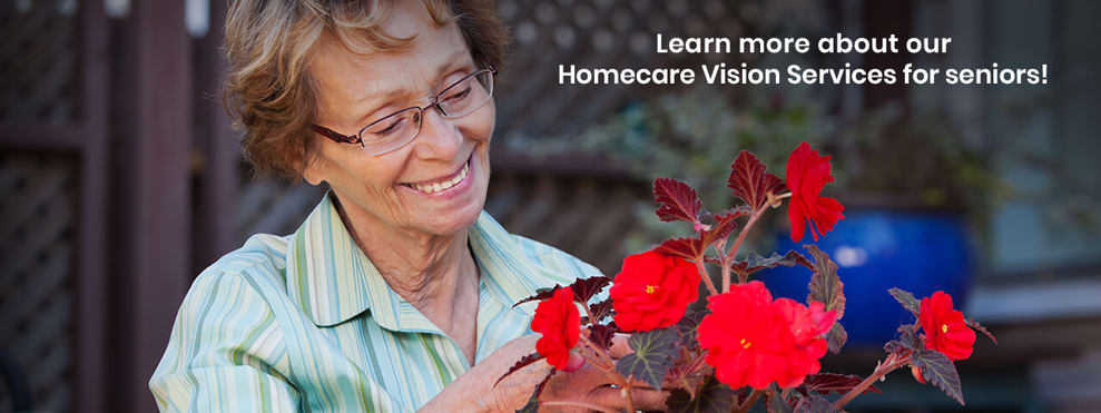 Older woman in advert for in-home eye care & eye exams
