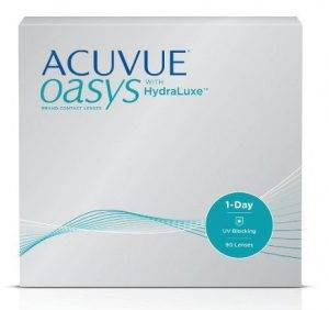 Eye doctor, box of Oasys HydraLuxe contact lenses in Lancaster, OH