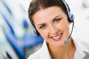 woman with headset smiling