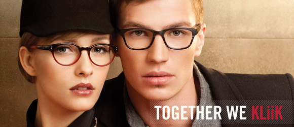 Man and woman wearing Kliik designer frame
