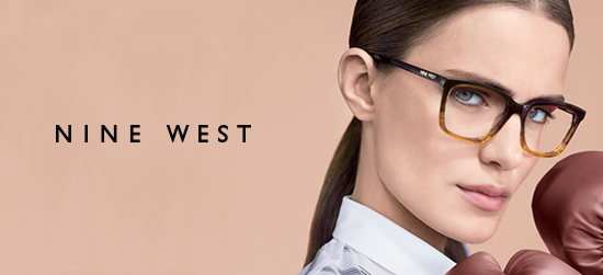 Woman wearing Nine West designer eyeglass frames