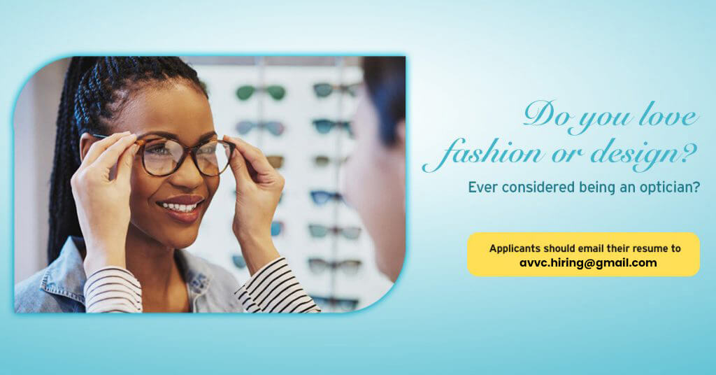 We are hiring graphic - optician - eye care staff - woman trying on frames in La Junta, CO