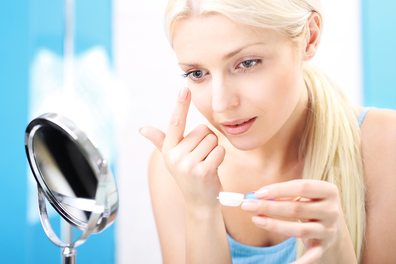 Women blonde contact lense specialty contact lenses in Hartsdale, NY