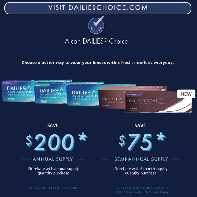 Alcon Dailies Rebate Until December 2016