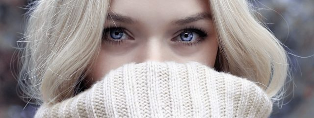 Close up of woman's eyes, wearing contact lenses