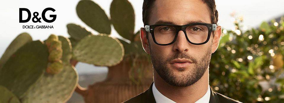 Man wearing D&G eyeglasses in Orange