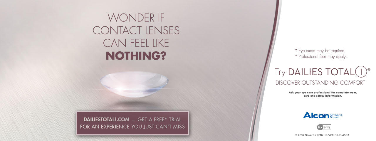 Wonder if Contact Lenses can feel like NOTHING? Dailiestotal - Get a Free* Trial.  (*Eye exam may be require. *Professional fees may apply.) - Alcon.