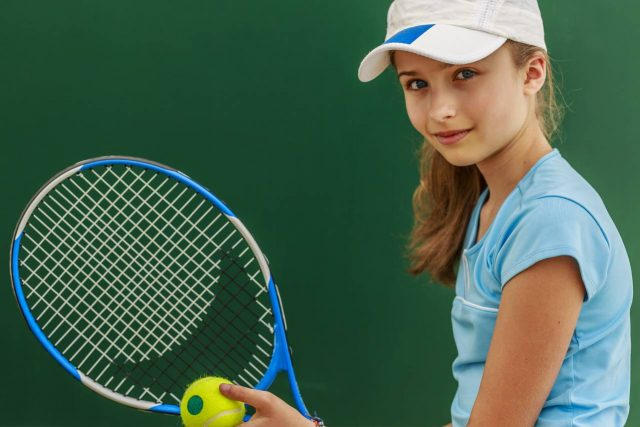 Eye care, teenage girl with a tennis racket, in San Diego, CA