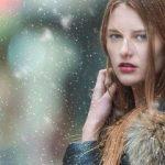 beautiful woman wearing winter stylish contact lens