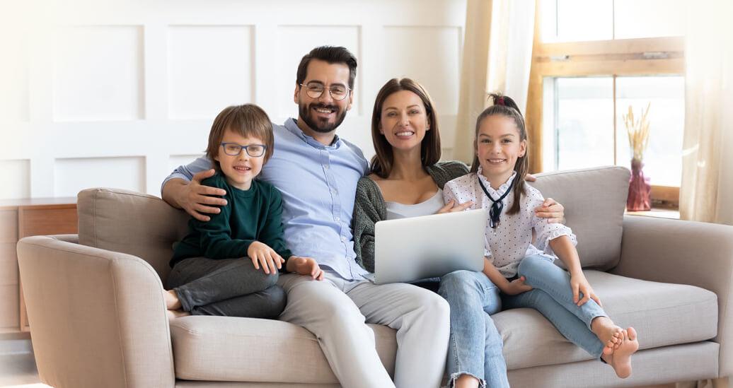 happy family wearing eyeglasses